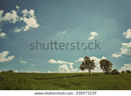 trees in the meadow and blue sky background (retro effect) - stock photo