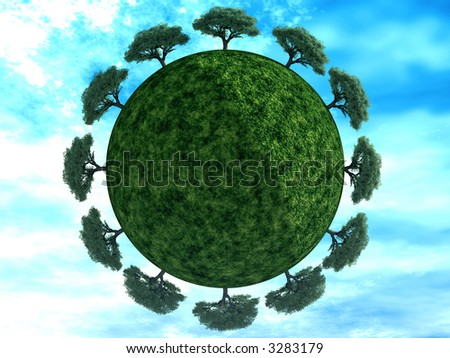 trees is juicy green color on earth on a background cloudy sky - stock photo