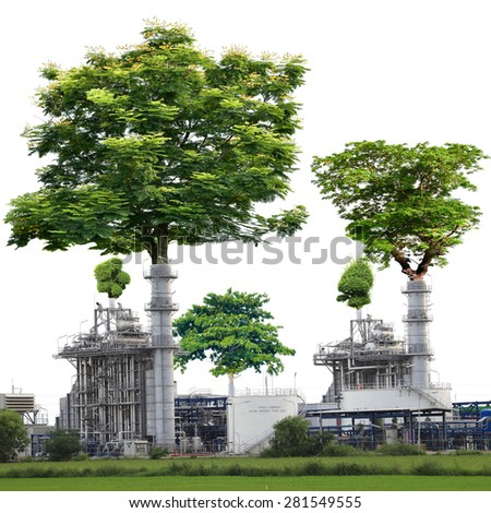 Trees larger crater power plants isolated on white background with clipping path. The Concept of Stop polluting emissions into the atmosphere to create a green and shady trees in the world.  - stock photo