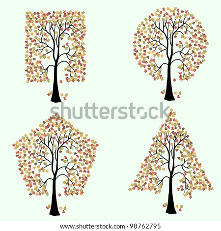 Trees of different geometric shapes.  set.