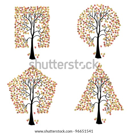 Trees of different geometric shapes.  set. Vector version also available in portfolio.