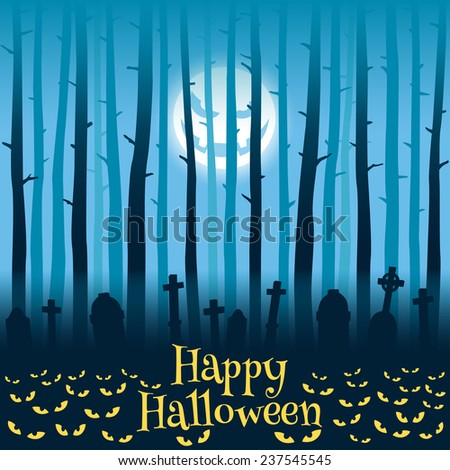 Trees on cemetery, tombs, moonlight and glowing eyes, Halloween style - stock photo