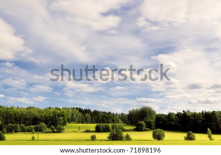 Trees on the horizon, on a bright summers day. Ekerö, Sweden. - stock photo