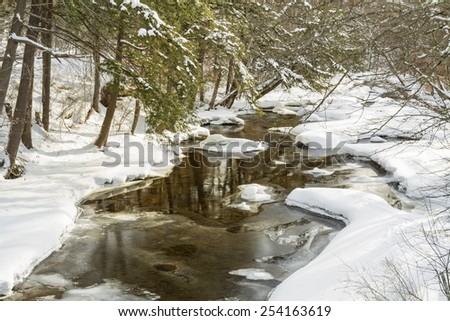 Trees reflected in a half frozen stream, Platte Kill, in Delaware County in the Catskills Mountains of upstate New York - stock photo