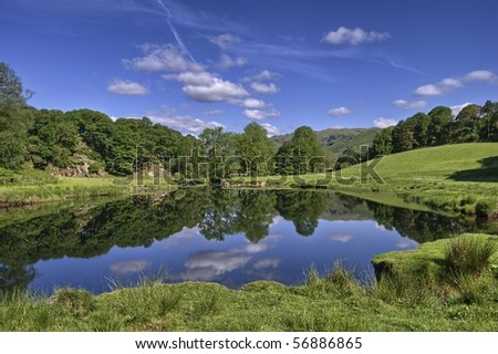 Trees reflected in the river Brathay at Elterwater, the English Lake District - stock photo