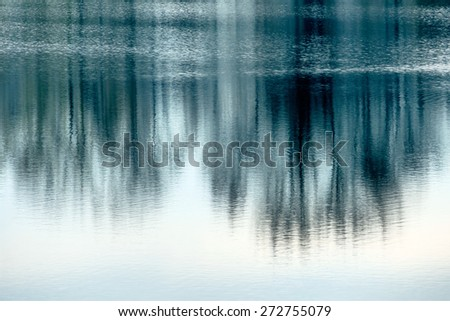 trees reflecting in the water, symbol of nature and meditation, and awareness and stillness - stock photo