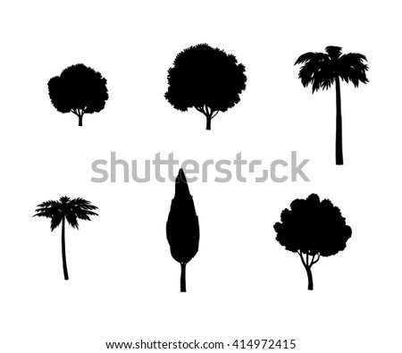 Trees silhouette. Trees set. trees icon. trees illustration. trees banner. trees clip art. Trees sign. Different trees set. Tree isolated on white background. Illustration for Art, Print, Web design. - stock photo