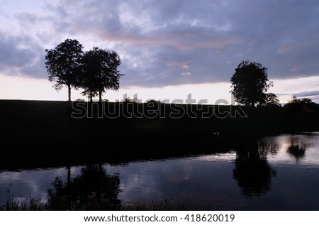Trees silhouettes on the lakeside with sunset sky background Copenhagen, Denmark