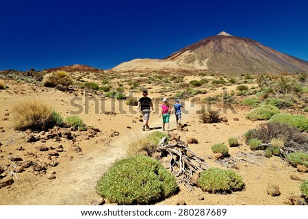 Trek through Las Canadas National park, Pico del Teide, Tenerife - stock photo