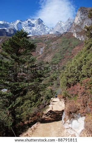 Treking in Himalayas, Nepal - stock photo