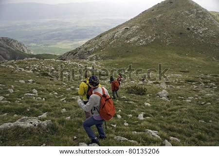 Trekkers at mountain in west Bosnia and Herzegovina near border with Croatia - stock photo