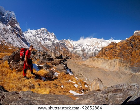 Trekkers in Annapurna Himal region of north central Nepal