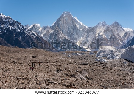 Trekkers walking to K2 base camp, Pakistan