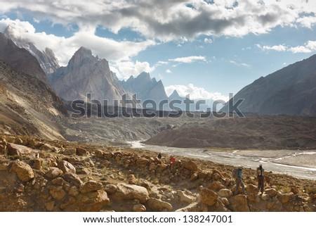 Trekking Adventure in the Karakroum Mountains in Pakistan - stock photo