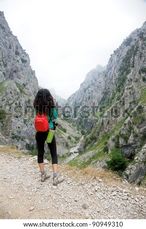 trekking at Gorge of River Cares in Asturias Spain - stock photo