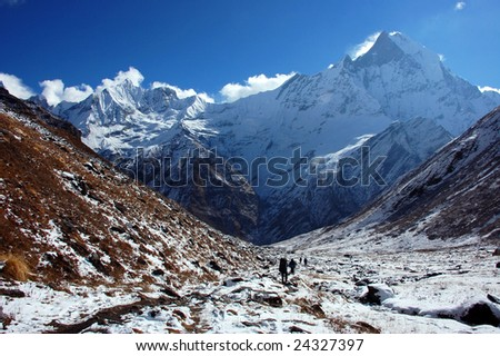 Trekking at the Foot of Machapuchare (Annapurna, Nepal)