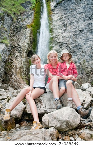 Trekking - family on mountain trek