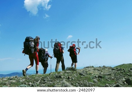 Trekking in the Crimea - stock photo