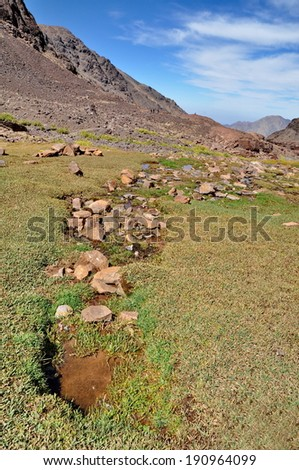 Trekking in the mountains - stock photo