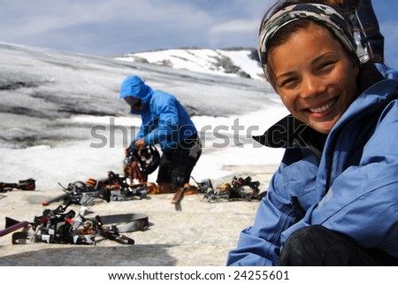 Trekking on the Jostedal glacier, Norway - stock photo