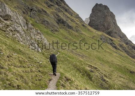 Trekking on trails dolomite. Alps in Europe. - stock photo