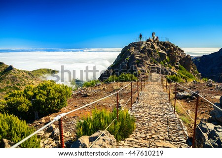 trekking path at the highest point of Madeira - Pico Ruivo - stock photo