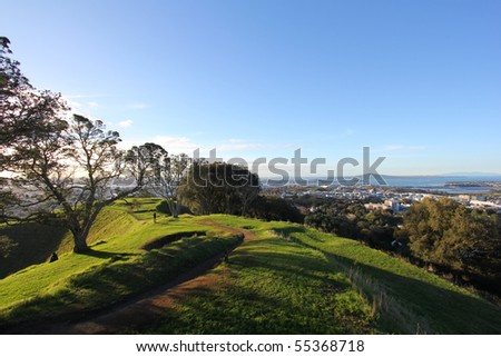 Trekking path on a hill - stock photo