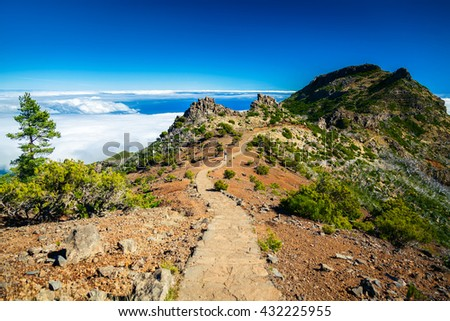 trekking path to the highest mountain of Madeira - Pico Ruivo - stock photo