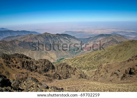 Trekking route to Toubkal, Atlas mountains in Morocco - stock photo