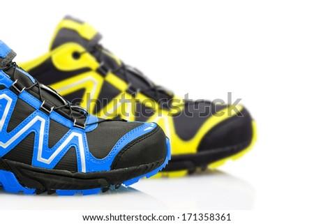 Trekking shoes isolated on white background - stock photo