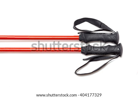 trekking sticks isolated on white - stock photo
