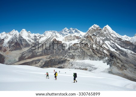 Trekking to Mera Peak - stock photo