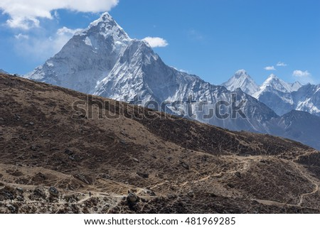 Trekking trail to Thukla pass, Everest region, Nepal