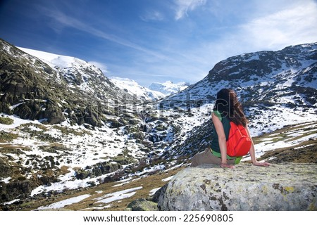 trekking woman at Gredos mountains in Avila Spain - stock photo