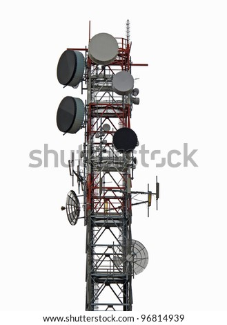 trellis with antenna for the repetition of television and mobile phone signals - stock photo