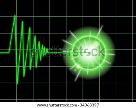 Tremor chart statistic with lines on black background. - stock photo