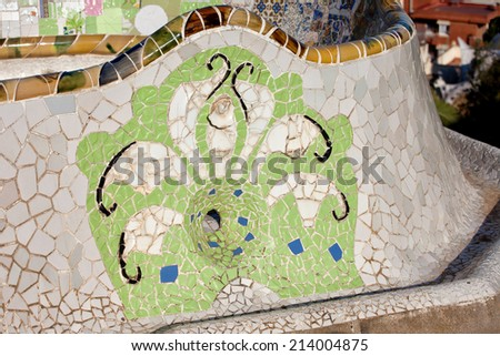 Trencadis abstract mosaic, part of Serpentine Bench at Gaudi's Park Guell in Barcelona, Catalonia, Spain. - stock photo