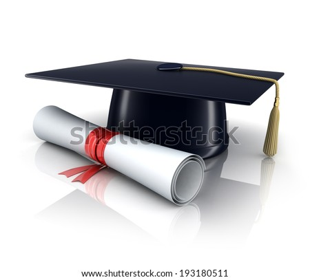 trencher-cap and diploma (done in 3d) - stock photo