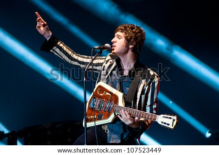 TRENCIN,SLOVAKIA - JULY 6: Luke Pritchard of the Kooks performs at the Bazant Pohoda Music Festival at the Trencin Airport in Trencin, Slovakia on July 6, 2012.