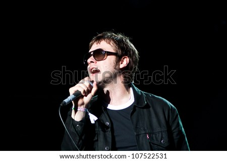 TRENCIN,SLOVAKIA - JULY 6: Tom Meighan of Kasabian performs at the Bazant Pohoda Music Festival at the Trencin Airport in Trencin, Slovakia on July 6, 2012.