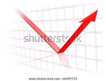 Trend arrow turns upwards - stock photo