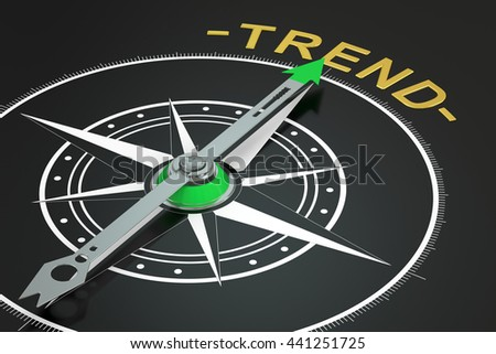 Trend compass concept, 3D rendering - stock photo