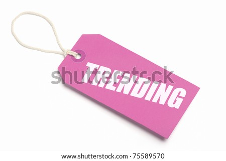 Trending. Trendy, pink tag. Isolated on white. - stock photo