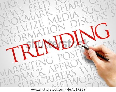 Trending word cloud collage, business concept background