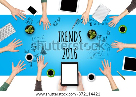 Trends in 2016. Top view of the working place. - stock photo
