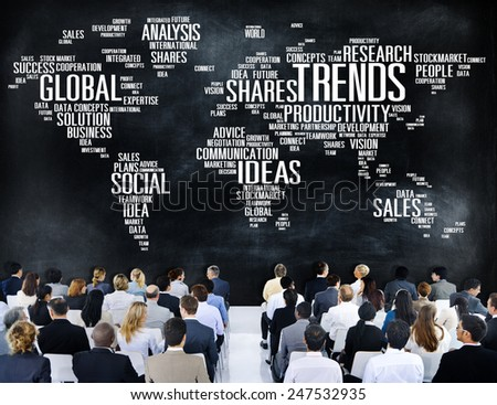 Trends World Map Marketing Ideas Social Style Concept - stock photo