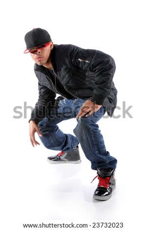 Trendy African American man performing hip hop style dancing - stock photo