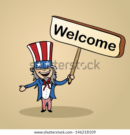 Trendy american man says welcome holding a wooden sign sketch. - stock photo