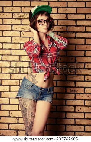 Trendy beautiful young model. Education. - stock photo