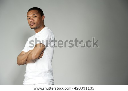 Trendy Black Male Wearing White with Copy Space - stock photo